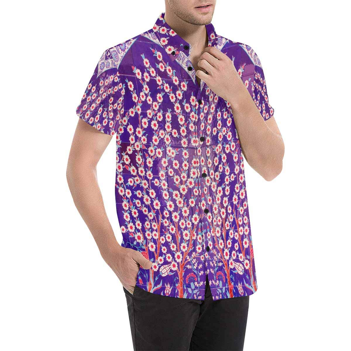 InterestPrint Fashion Printed Pineapples Palm Leaves and Flowers Striped Stand Collar Casual T-Shirt Beach Tops