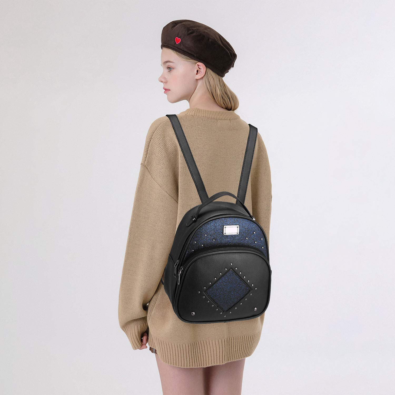Women Mini PU Leather Purse Casual Daypack Sequins Backpack