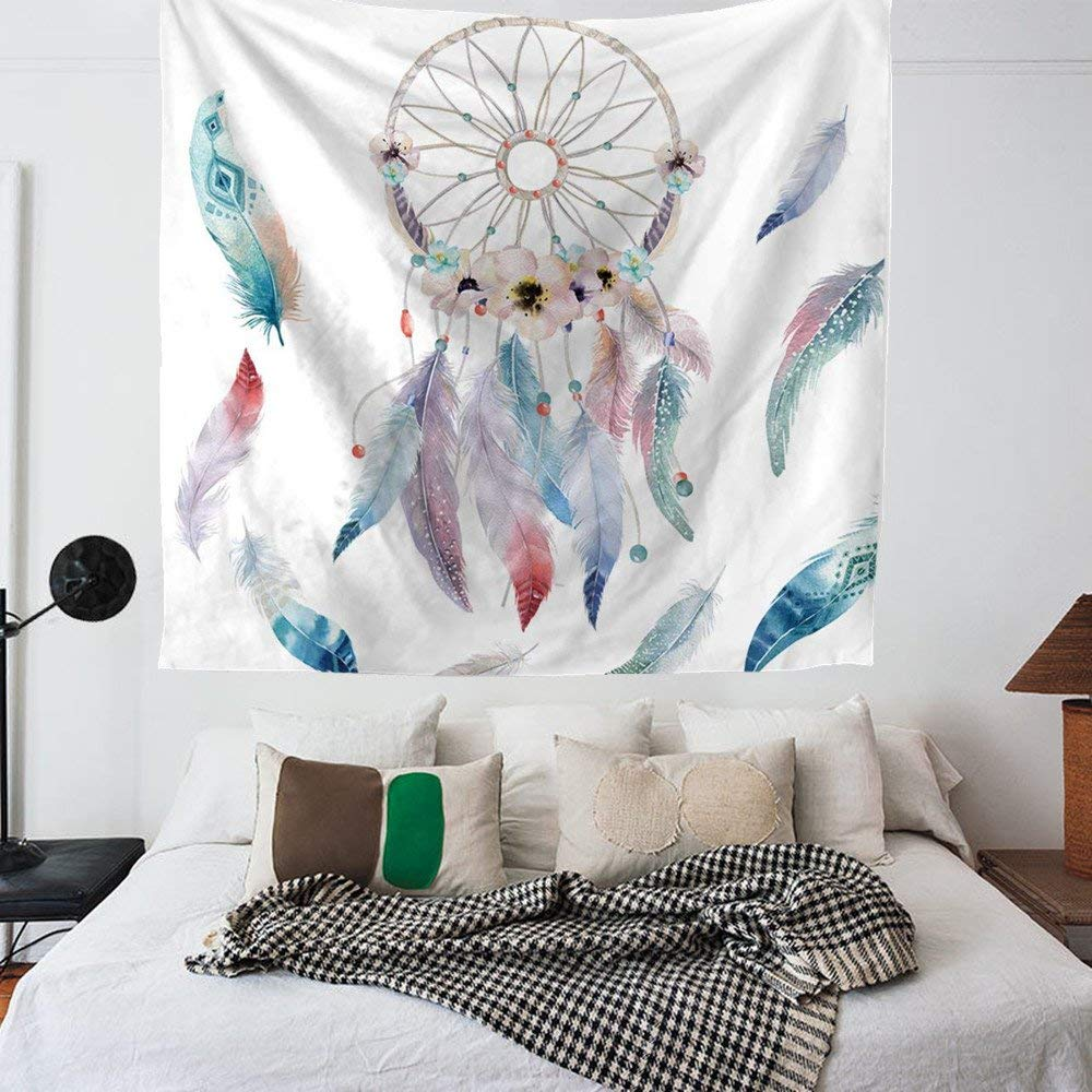 """Colorful Dream Catcher Tapestry Indian Wall Hanging,Holiday Decoration Watercolor Printed Bedroom Living Room Dorm Bohemian Wall Art Tapestry Beach Towel 59/""""x78.7/"""""""