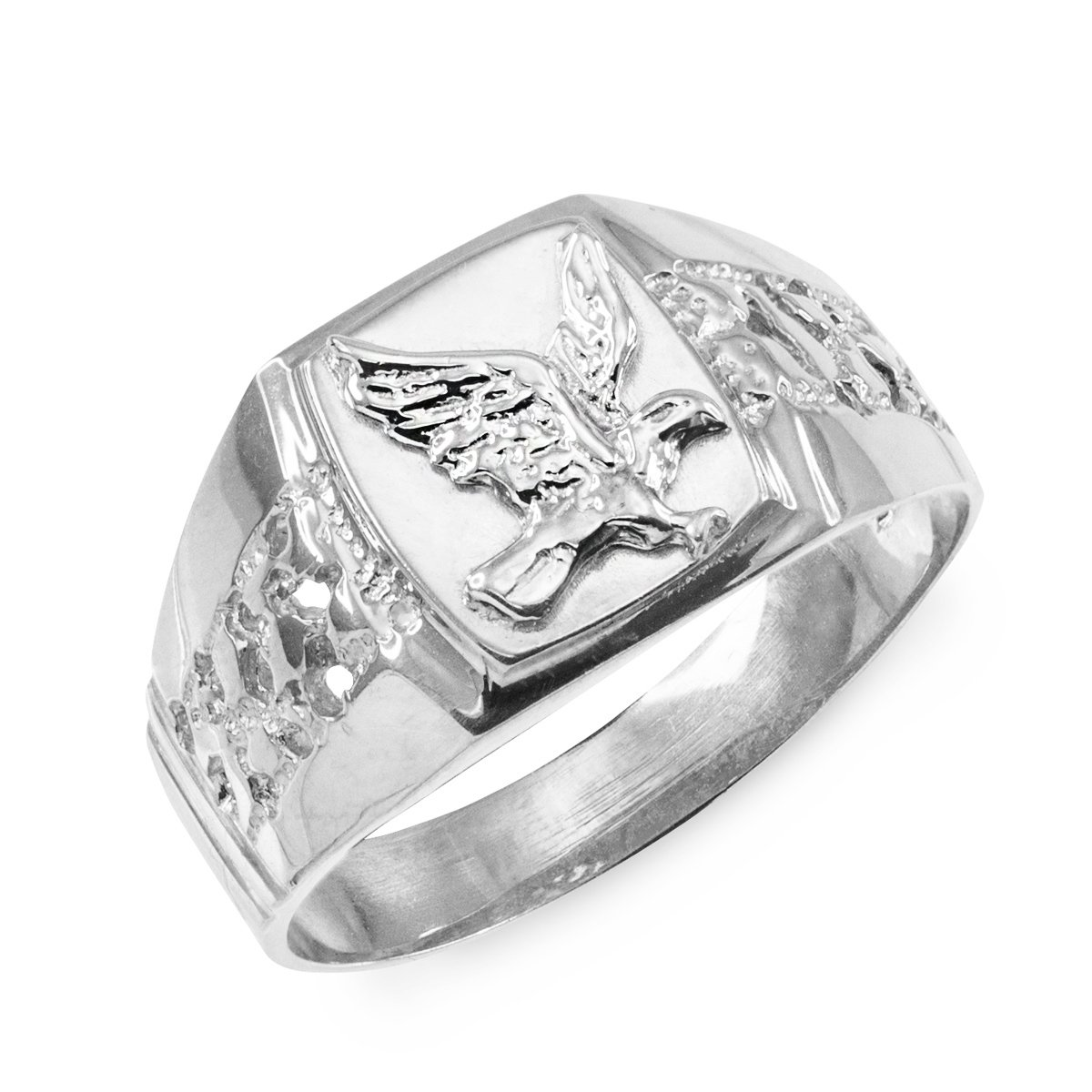 Men's Polished 14k White Gold Open Nugget Band American Eagle Ring (Size 9.5)