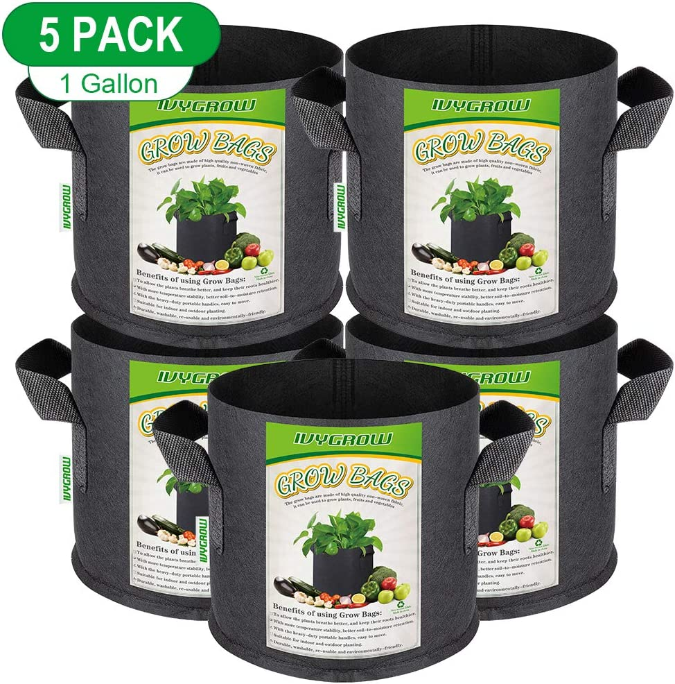 IVYGROW 5-Pack 1 Gallon, Heavy Duty Nonwoven Plant Grow Bags for Gardening, Aeration Planting Bags, Universal Fabric Pots with Sturdy Handles