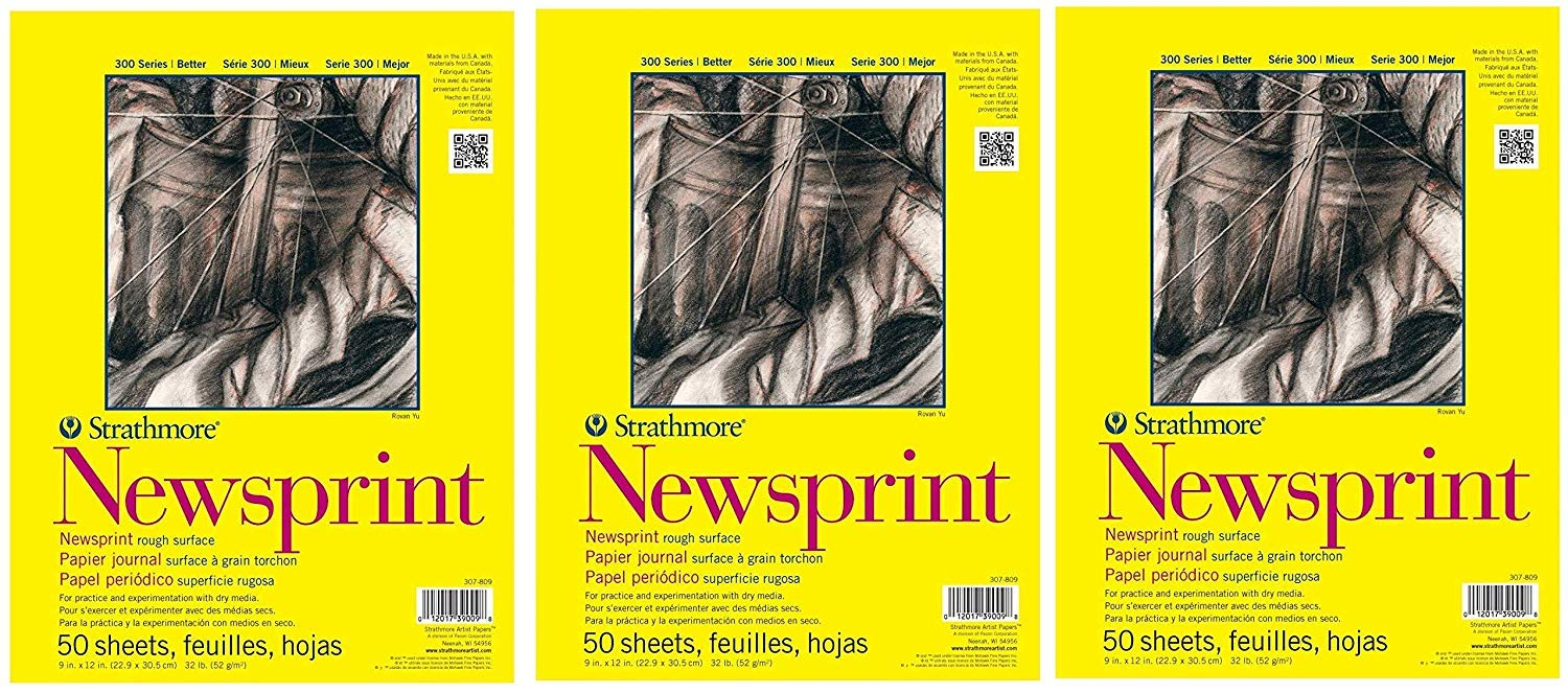 Strathmore 307-18 300 Series Newsprint Pad, Smooth 18''x24'' Tape Bound, 50 Sheets (3-(Pack))