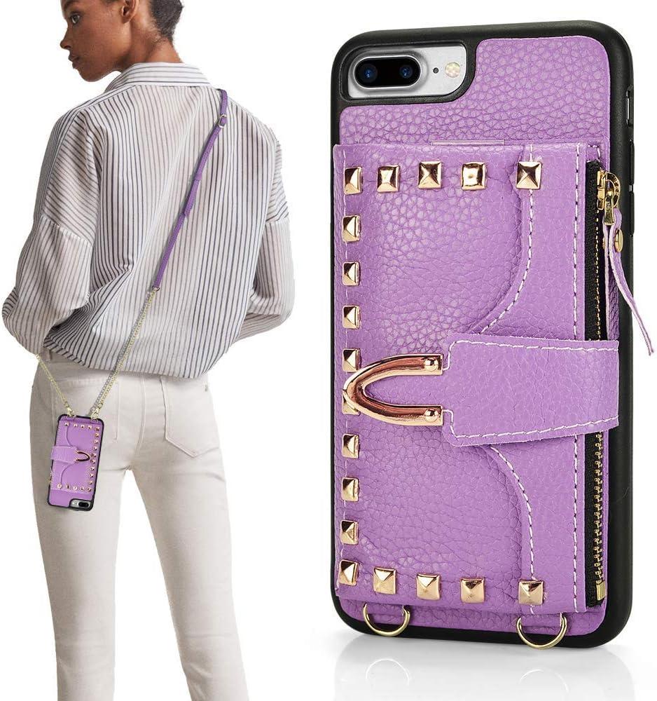 iPhone 7 Plus Wallet Case, ZVE iPhone 8 Plus Case with Credit Card Holder Slot Crossbody Wallet Case Rivet Design Purse Wrist Strap Protective Case Cover for Apple iPhone 7 Plus - Light Purple