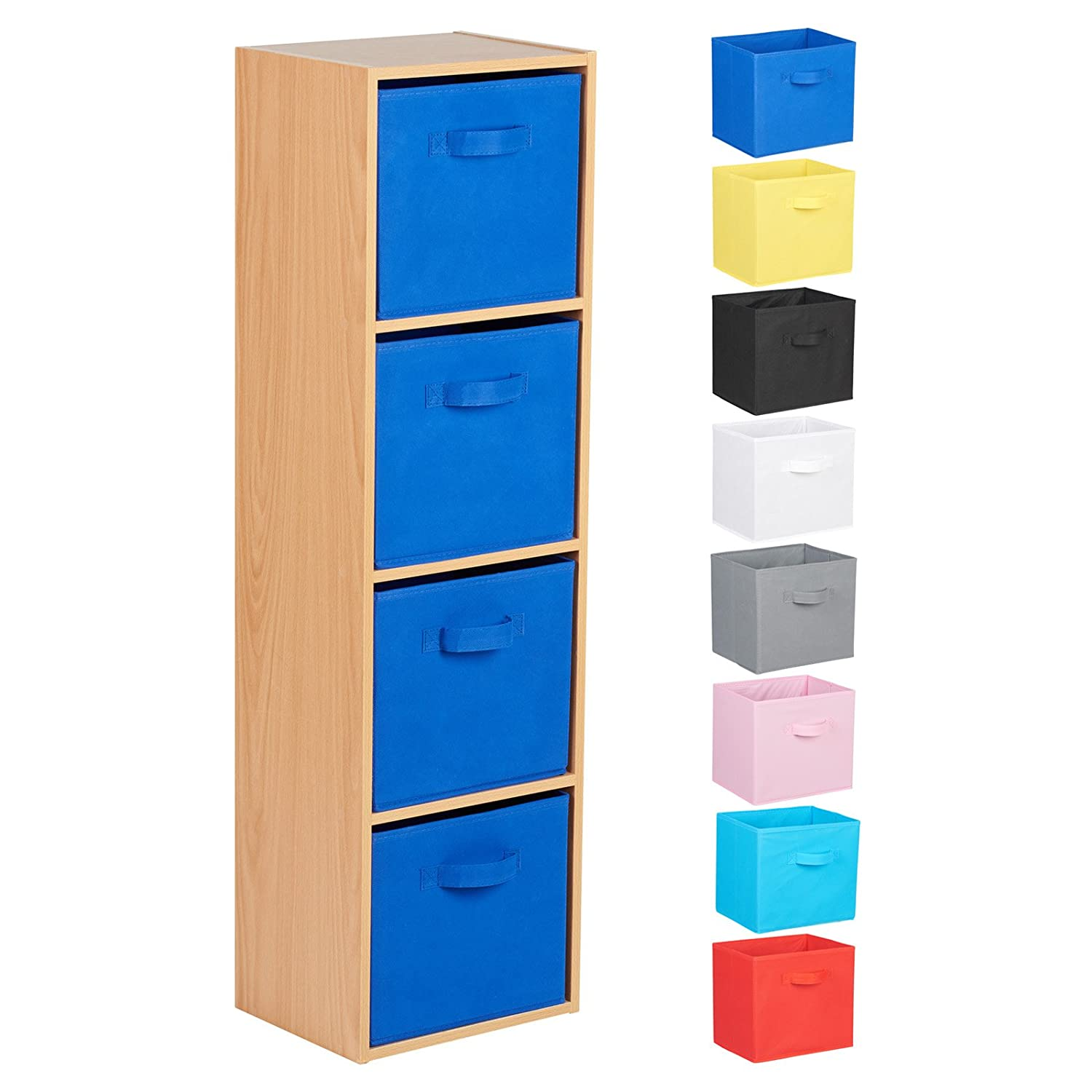 Hartleys 4 Tier Beech Cube Unit & Fabric Storage Boxes - Choice of Colour