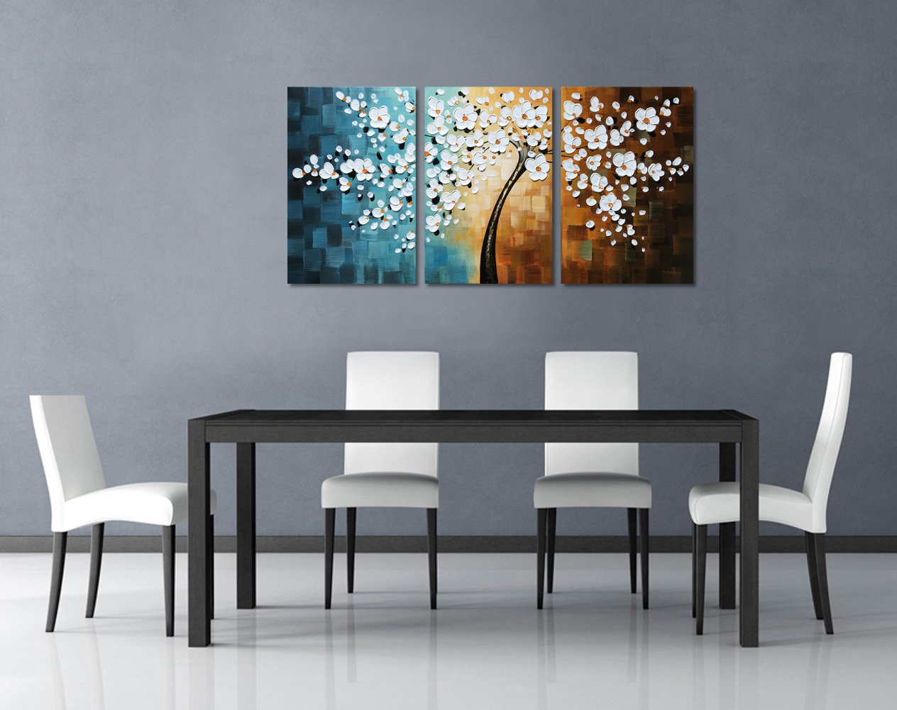 Amazon.com: Everfun Art Hand Painted Palette Knife Tree Oil ...