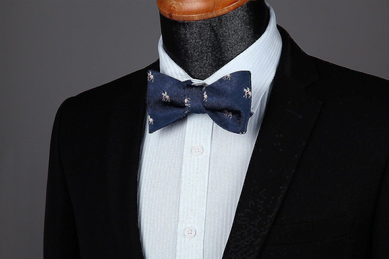 HISDERN Mens Check Jacquard Self Bow Tie Pocket Square Set Wedding Party
