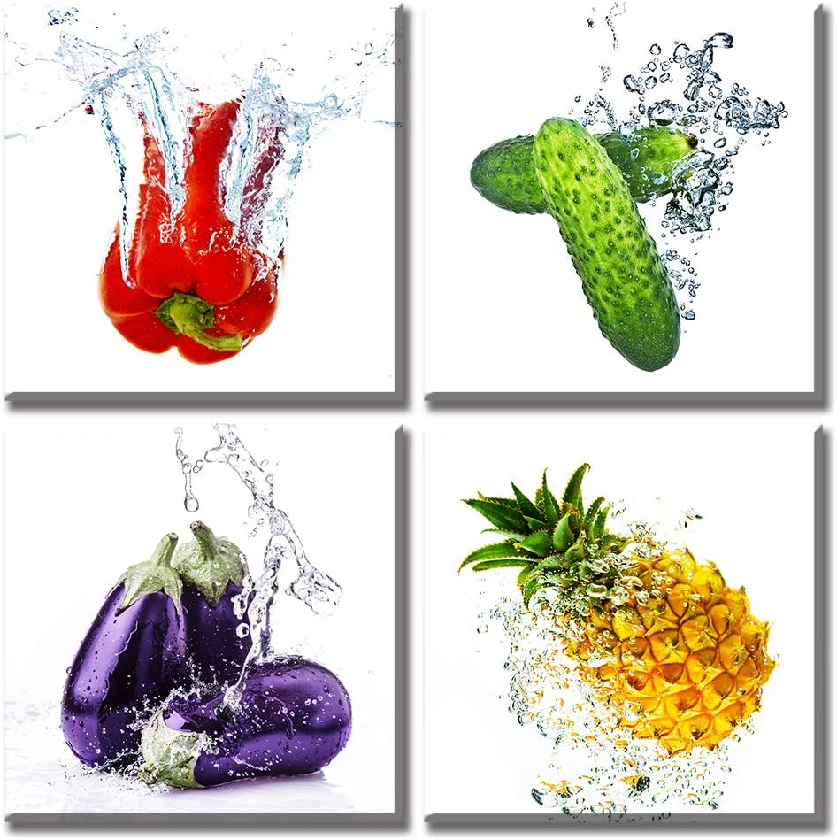 Fresh Vegetables Canvas Wall Art Colorful Various Fruits Cucumber Eggplant Pineapple Pimento Food Picture Artwork Modern Kitchen Livingroom Decor 12