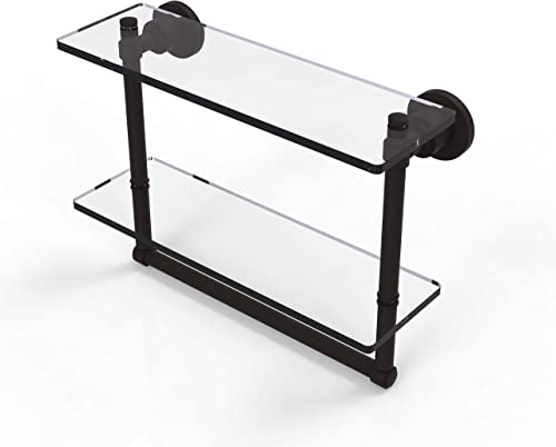 Allied Brass WS-2TB 16 Washington Square Collection 16 Inch Two Tiered Integrated Towel Bar Glass Shelf, Oil Rubbed Bronze