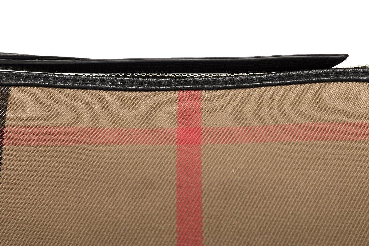 fb53de90f9a5 Amazon.com  Burberry Women s House Check Derby Leather Small Abingdon Clutch  Bag Black  Clothing