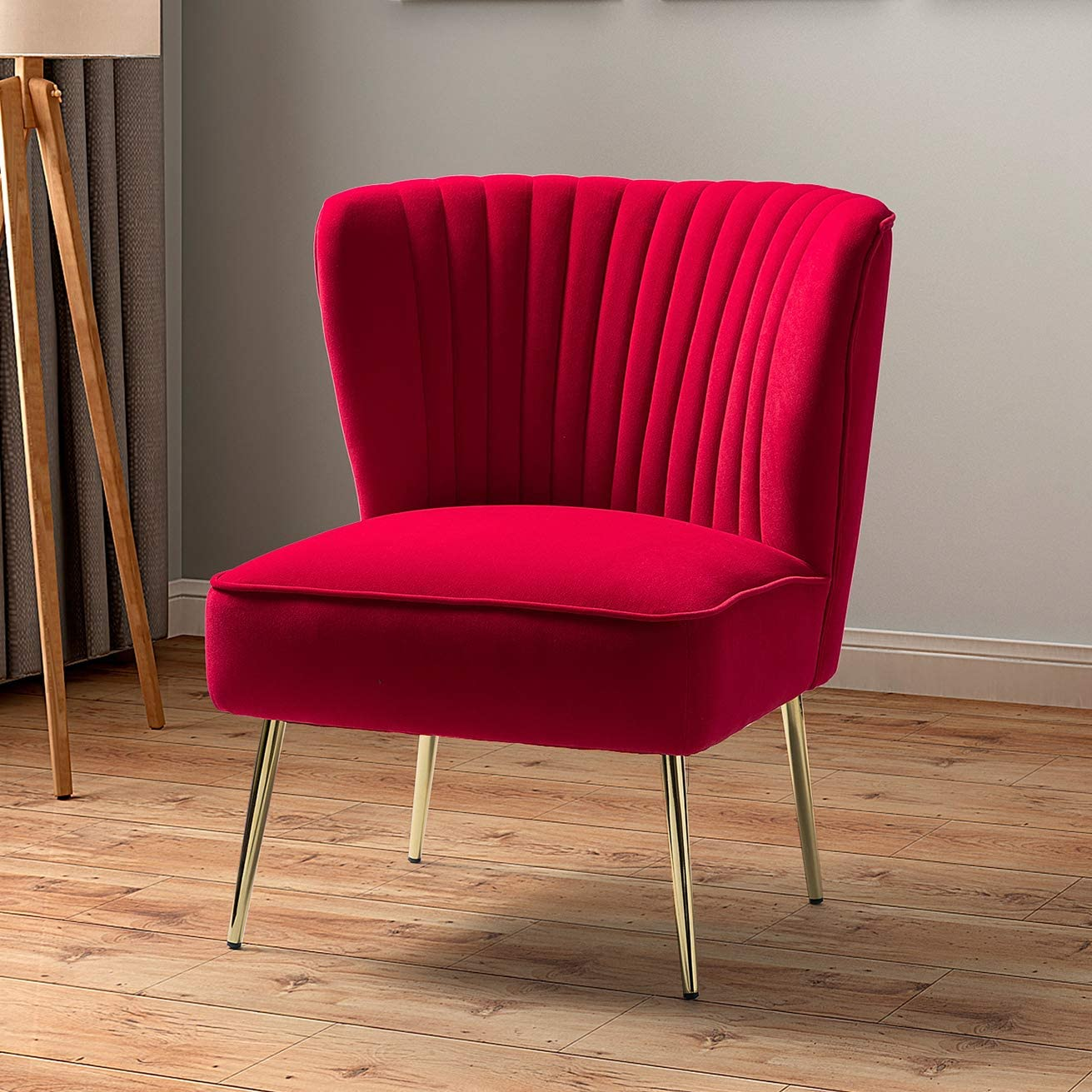 Amazon.com: Velvet Upholstered Side Chair with Glam Gold Metal