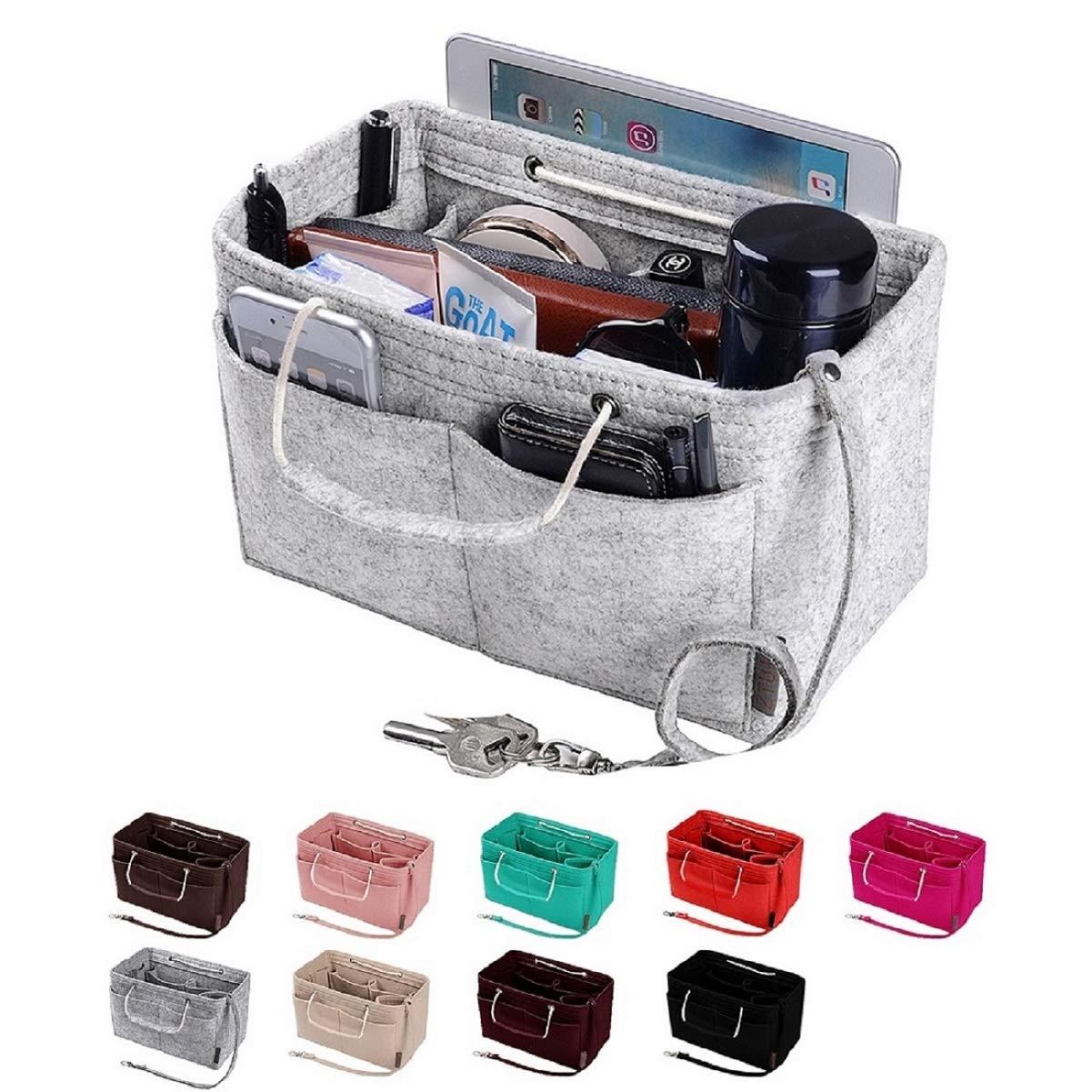 Purse Organizer, Multi-Pocket Felt Handbag Organizer, Purse Insert Organizer with Handles, Medium, Large (Medium, Grey) by ZTUJO