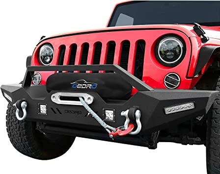 Front Bumper Rear Bumper w// LED Lights /& D-Rings For 2007-2018 Jeep Wrangler JK