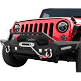 oEdRo Front Bumper, Compatible for 2007-2018 Jeep Wrangler JK & Unlimited, Rock Crawler Bumper with Winch Plate Mounting & 4