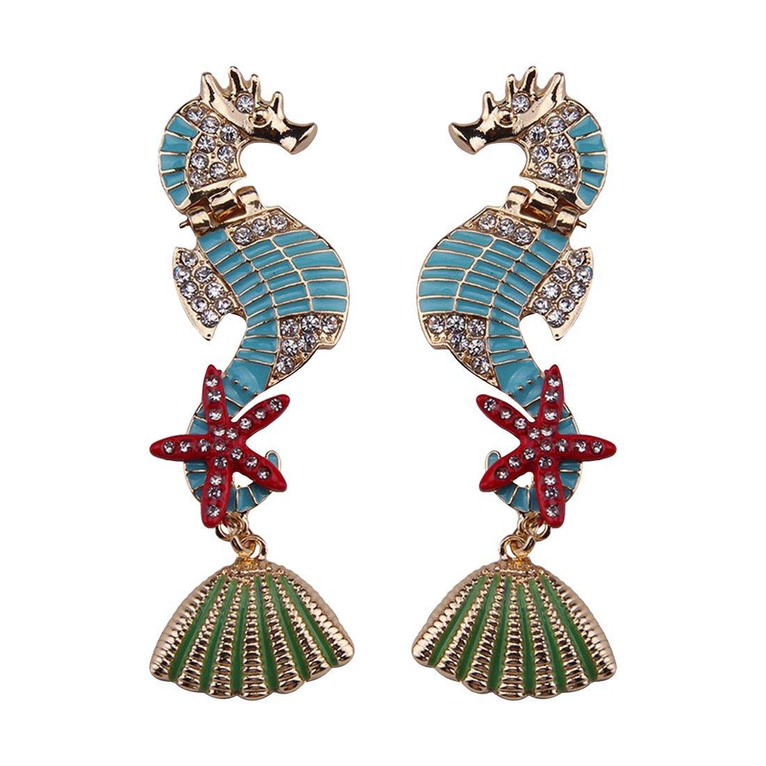 Olsen Twins Ocean Beach Shell Starfish Sea Horse Earrings, Rhinestone Enamel Long Stud Earrings (Light Blue)