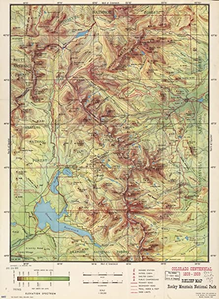 Amazon.com: Vintage 1959 Map of Relief map, Rocky Mountain National ...