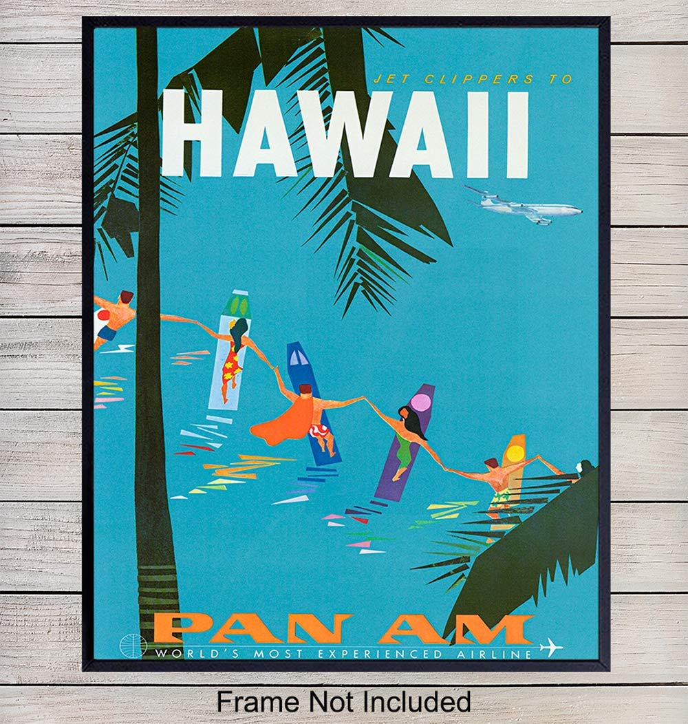 Hawaii Travel Poster Wall Art Print - Unique Hawaiian Home Decor for Tropical Beach House, Bedroom, Bathroom, Living…