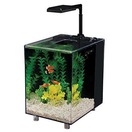 Penn Plax Prism Nano Aquarium Kit With Filter and LED Light, Desktop Size, Black