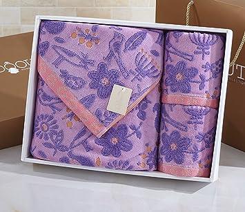 Flores Gerong Toallas de algodón Toalla cuadrada Caja de regalo Tres piezas de absorción de agua suave (Color : #2) : Amazon.es: Hogar