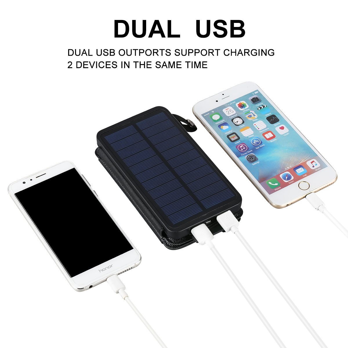 FLOUREON 10,000mAh Mobile Phone Power Bank 1+3PCS Solar Panel Chargers with Solar charging Auxiliary Function Dual USB 1.0A/2.1A Portable Mobile External Battery for iPhone, iPad, Samsung Galaxy and A
