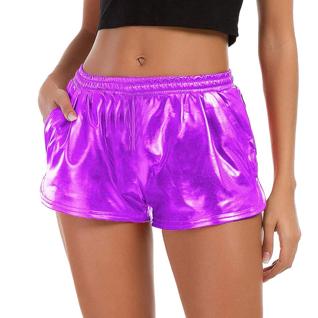 FarJing Women Fashion High Waist Yoga Sport Pants Leggings Metallic Shiny Pants Shorts (S,Purple)