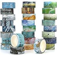 Kovano Washi Tape Set van 24 decoratieve masking tape collectie, verschillende seizoenen sjablonen - plakband voor…