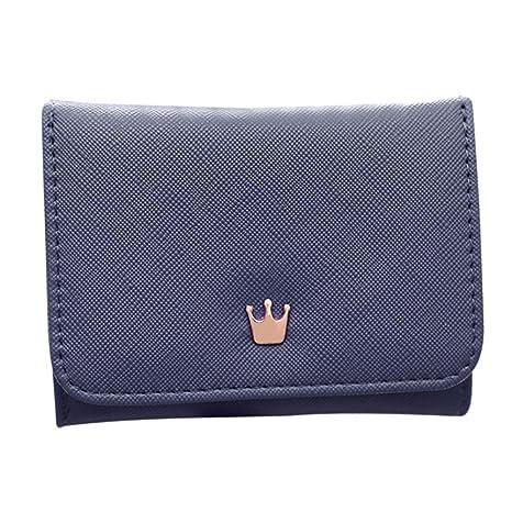 AIMEE7 Cartera de mujer lindo Portatarjetas mini Carteras Monedero de Corona Pequeña Monedero (Azul,