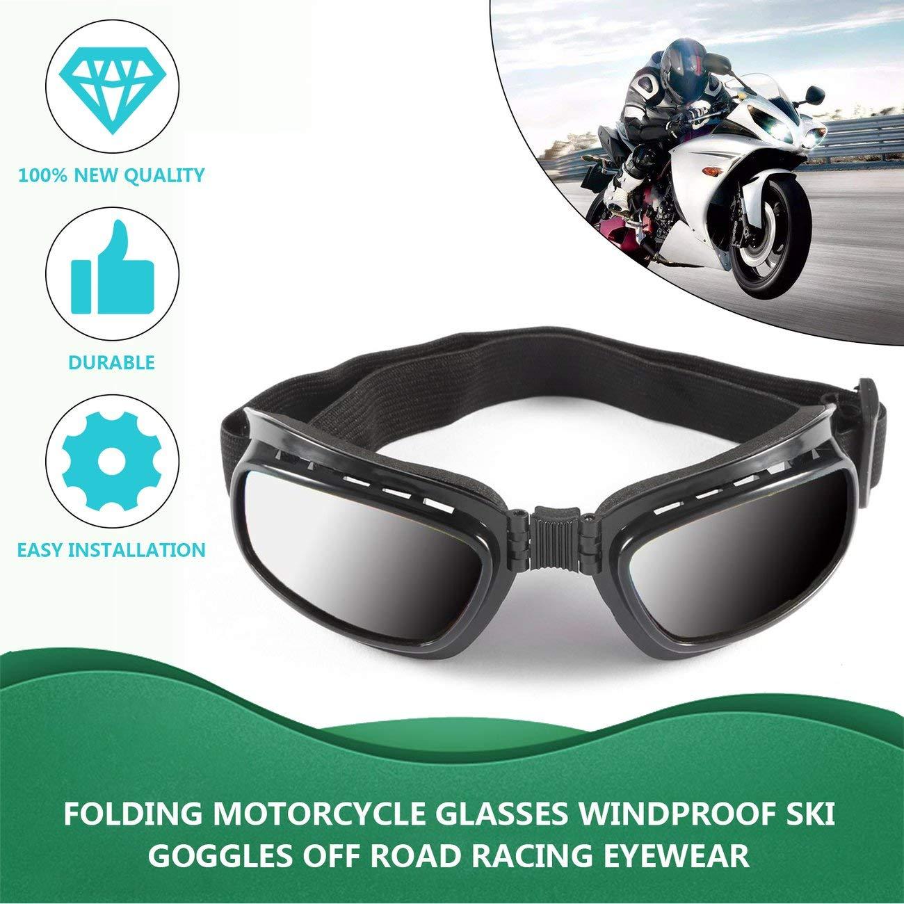 Elviray Occhiali da Moto Pieghevoli Vintage Antivento Antipolvere Sci Occhiali off Road Occhiali da Corsa Occhiali Elastici Regolabili