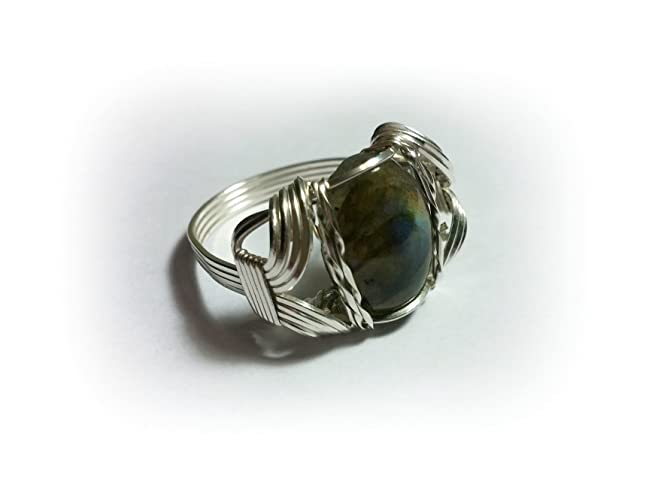 Amazon.com: Labradorite Cabochon Sterling Silver Filled Wire Wrapped ...