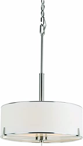 Trans Globe Lighting Trans Globe Imports 1050 BN Transitional Three Light Pendant from Cadance Collection in Pwt, Nckl, B S, Slvr. Finish, 17.25 inches, Brushed Nickel