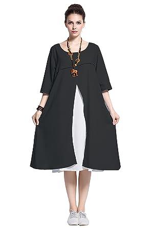 Anysize Linencotton Fake Two Pieced Dress Plus Size Spring Summer