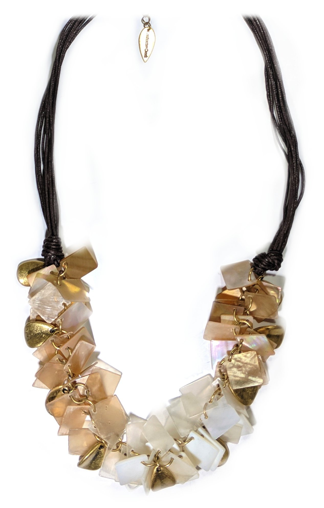 Coldwater Creek, Leather, Shell and Brushed Gold Necklace
