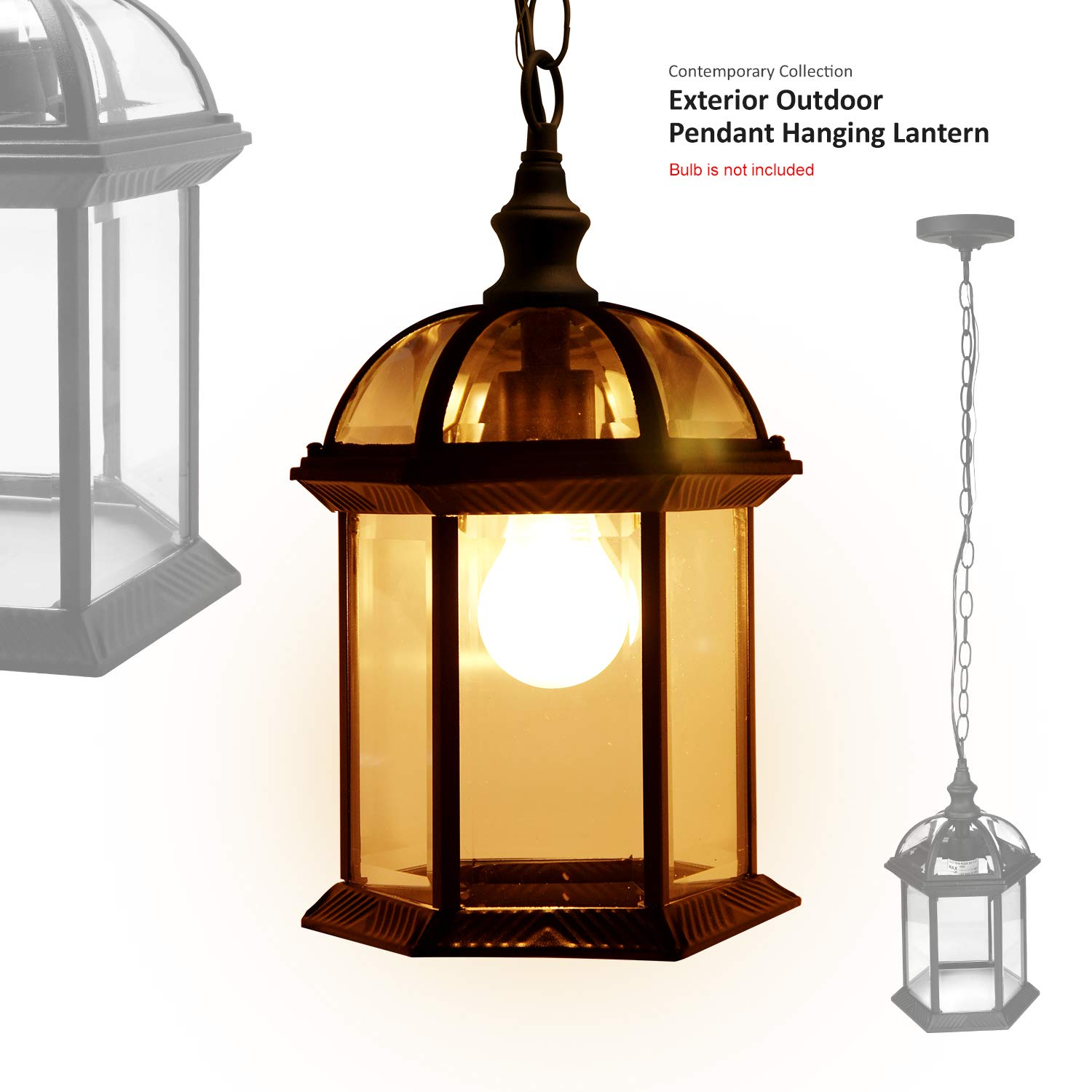 eTopLighting Contemporary Collection Exterior Outdoor Pendant Hanging Lantern with Beveled Clear Glass APL1023