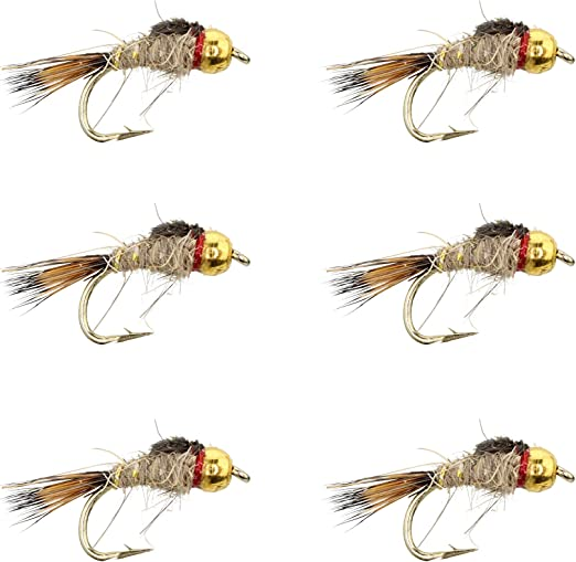 1 DOZEN  BEAD HEAD BROWN AND PEARL NYMPHS FOR FLY FISHING-BH 14