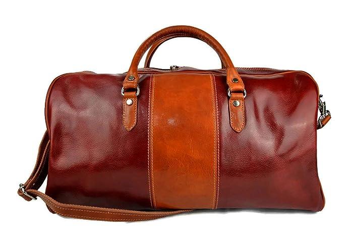 Bolsa de viaje mujer hombre con asas y correa de cuero ...