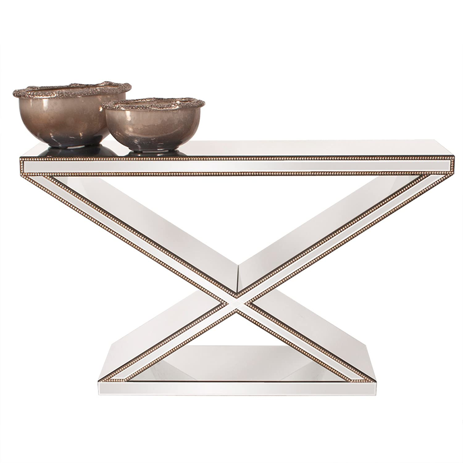 Amazon howard elliott 99022 x frame mirrored console table amazon howard elliott 99022 x frame mirrored console table kitchen dining geotapseo Image collections