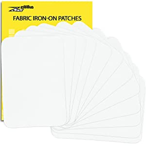 "ZEFFFKA Premium Quality Fabric Iron On Patches White 12 Pieces 100% Cotton Repair Kit 3"" by 4-1/4"""
