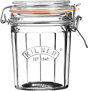 Kilner Glassware Facetted Clip Top Jar, Airtight Seal for Pickling, Preserving and Storing, 15-Fluid Ounces