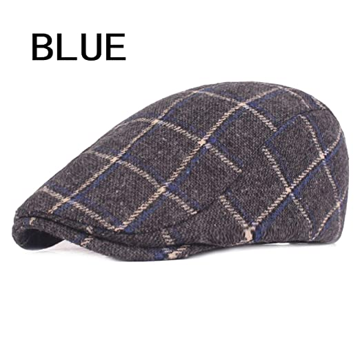 Hulione Spring Autumn Hats for Men Casual Plaid Cotton Beret Caps Gorras Planas Boinas Check Flat
