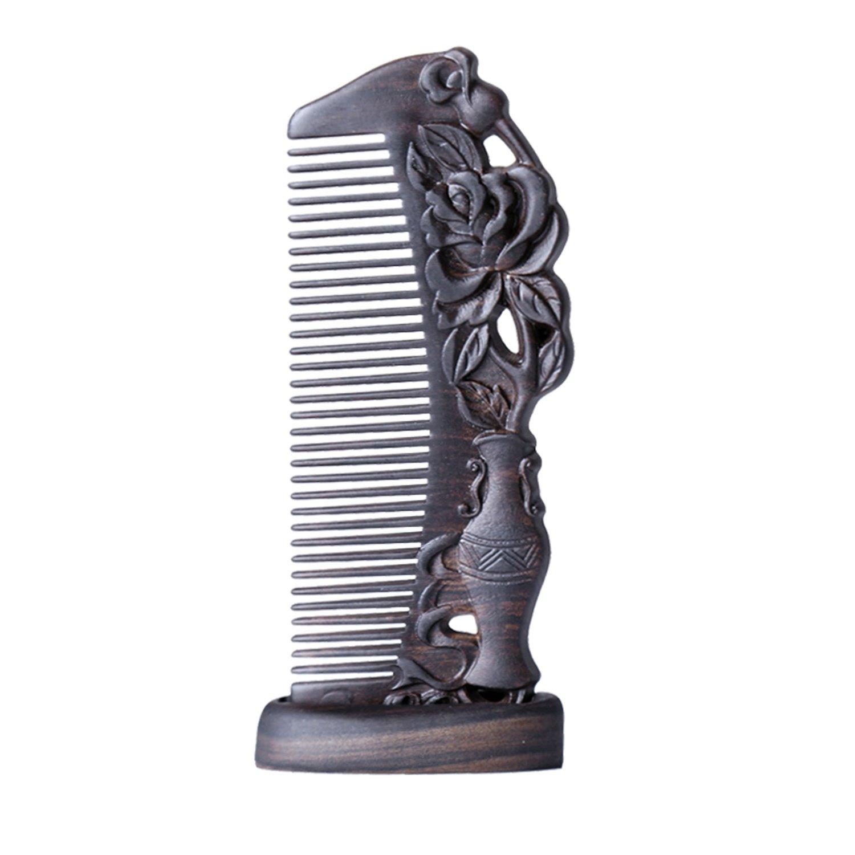 JINZA Peigne à la Main Fine Naturelle/Bois Entier Sculpté à Dents Fines Peigne/Peigne portatif Peigne à Cheveux de Haute qualité Rétro Sculpture sur Bois