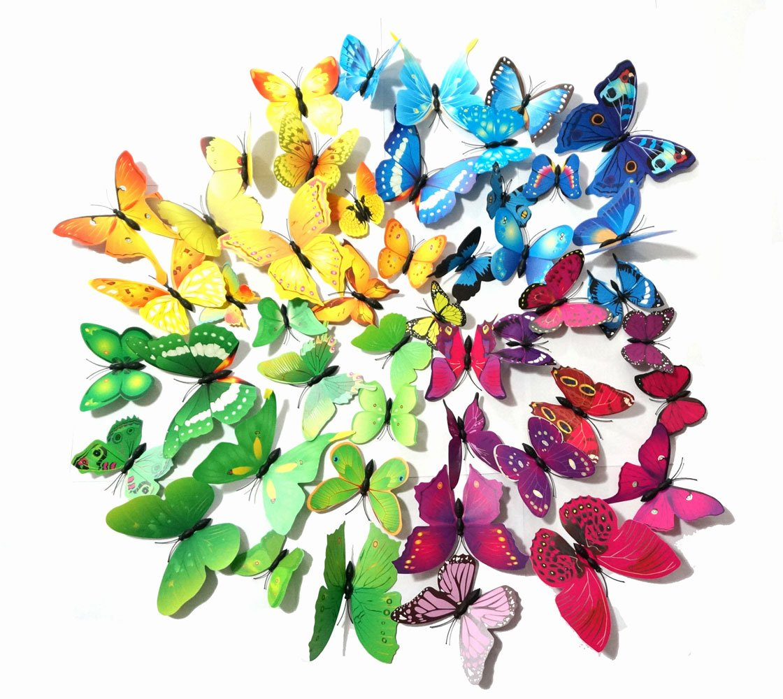 48 PCS PVC 3D Butterfly Fridge Magnets Refrigerator Magnets Wall Stickers with Magnet for Wall Decor Art Decor Crafts Home Party Decoration (Multi)