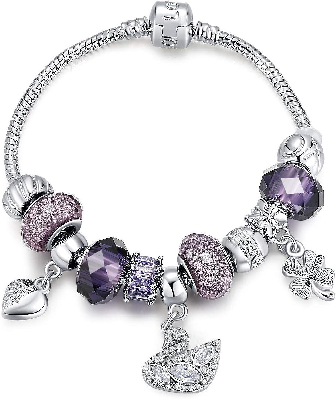 5 Perle Strass violet Argenté pr Bracelet Charms