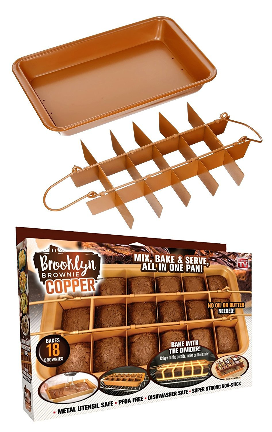 Brooklyn Brownie Copper by Gotham Steel Nonstick Baking Pan with Built-in Slicer, Ensures Perfect Crispy Edges, Metal Utensil and Dishwasher Safe 1491