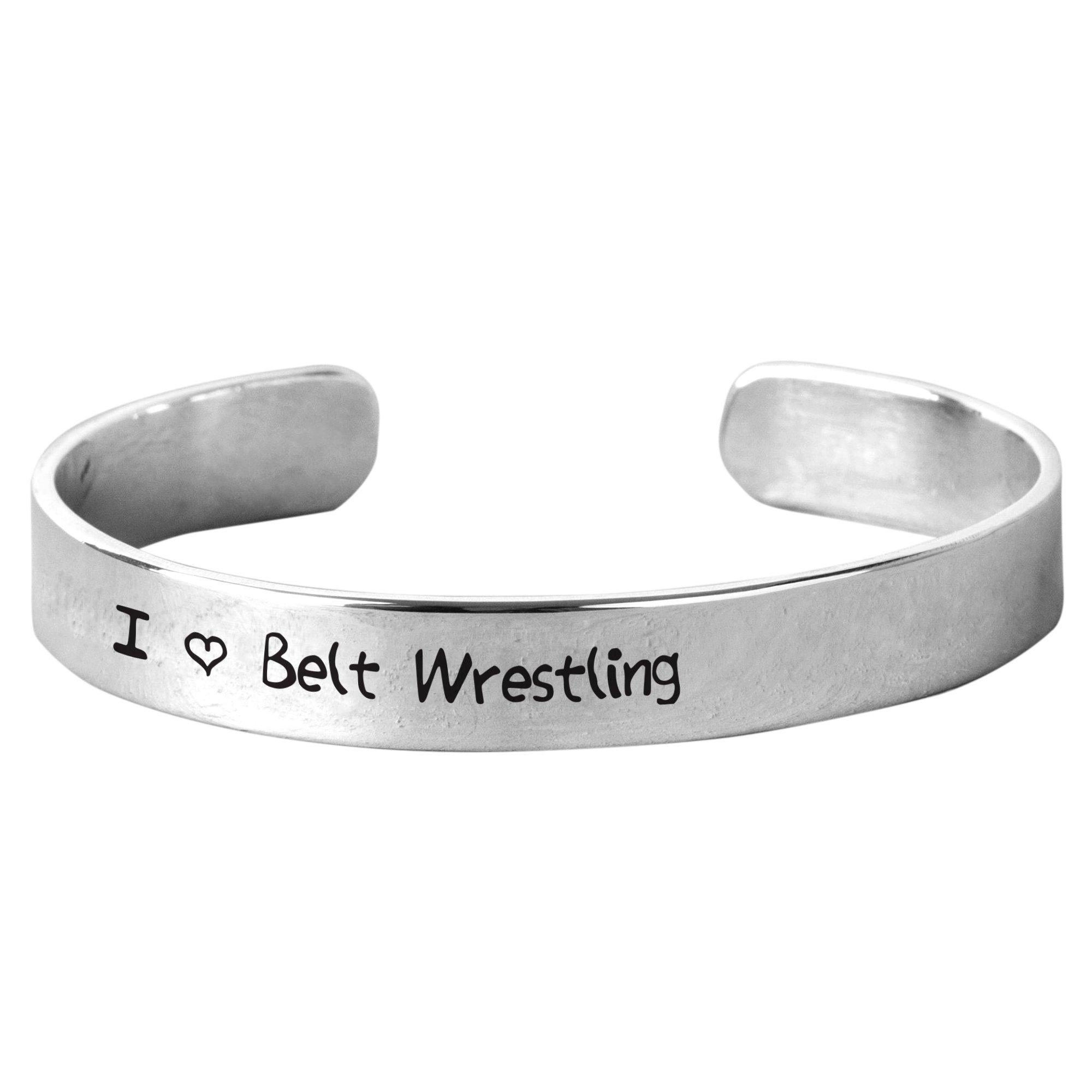 I Love Belt Wrestling - Unisex Hand-Stamped Aluminium Bracelet by NanaTheNoodle