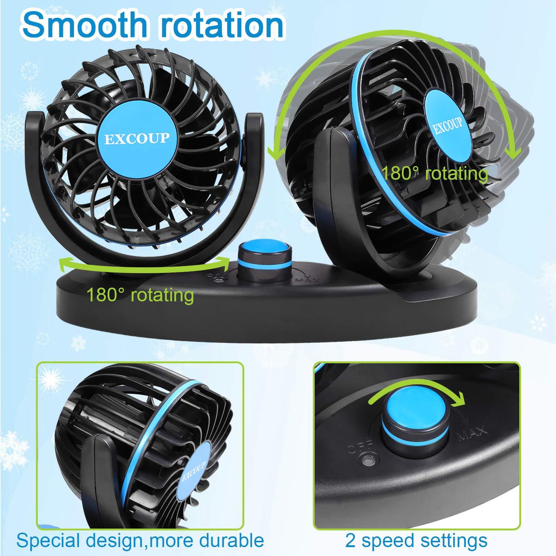 12V Ventilator Auto Mini Ventilatoren mit Stufenloser Geschwindigkeit Car Fan Leise Armaturenbrett 180 Grad Drehbar f/ür Lkw-Fahrzeuge Boot SUV