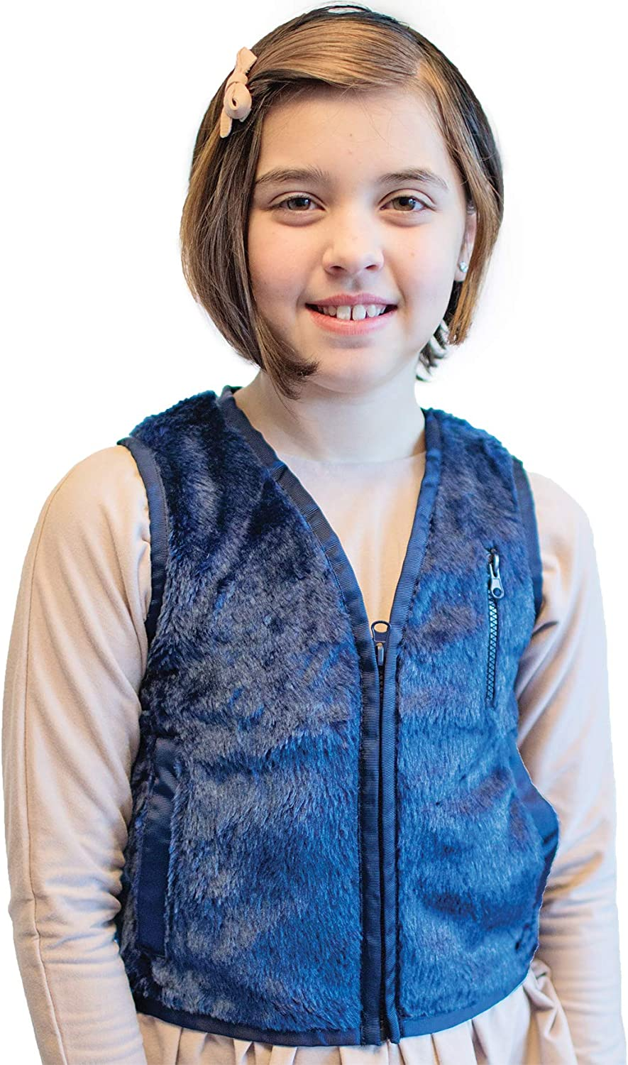 Helps with Mood /& Attention Travel Issues Sensory Seeking Sensory Over Responding Fun and Functions Weighted Faux Fur Vest