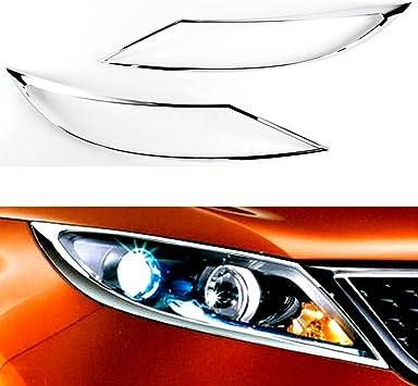 Front Chrome Head Light Lamp Cover Trim Molding Garnish 2p For 12 13 Kia K3