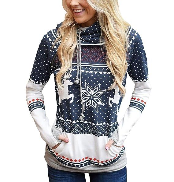 ... Sudaderas Navideñas Estampadas Jersey Navideño Sueter Reno Sweaters Pullover Hoodies Largas Chica Oversize Anchas Deporte Larga Invierno Personalizadas: ...