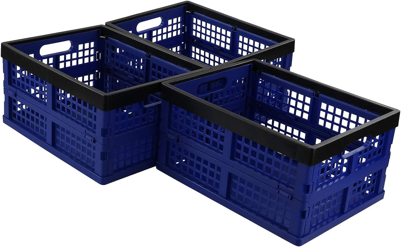 Tstorage 16 Litre Plastic Laundry Basket Folding Crate Box for Storage, Deep Blue and Black, 3 Packs