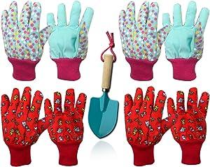 Kids Gardening Work Gloves Cotton Garden Soft Jersey Gloves, 4 pairs…