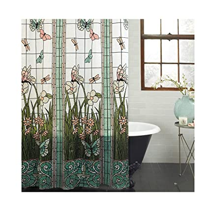 Amazon Mainstays Stained Glass Meadow PEVA Shower Curtain Home